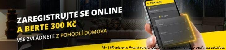 Zaregistrujte se online u Fortuny a získejte 300 Kč