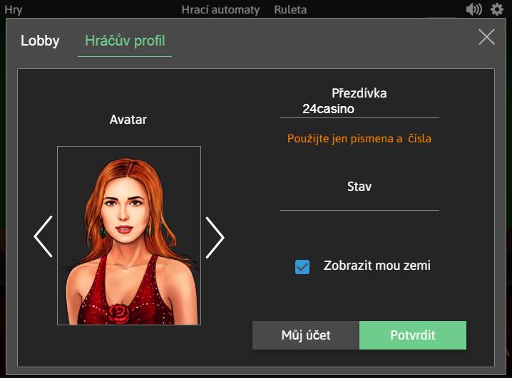Možnost úpravy profilu u živých her Playtech