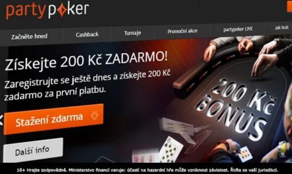Registrujte se na PartyPokeru a získejte 200 Kč zadarmo